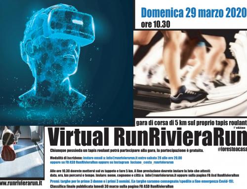 Virtual RRR. Una gara di 5 km Virtuale…solo la ASD RunRivieraRun poteva pensarla…